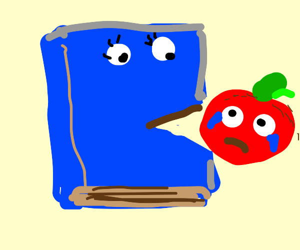 Giant blue book eats crying tomato