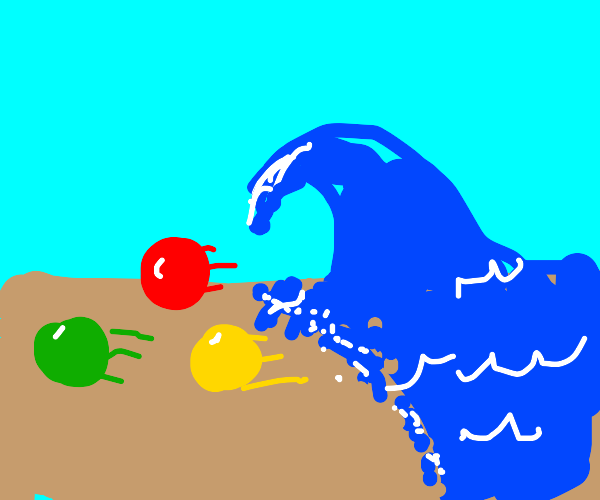 Balls rolling away from a wave