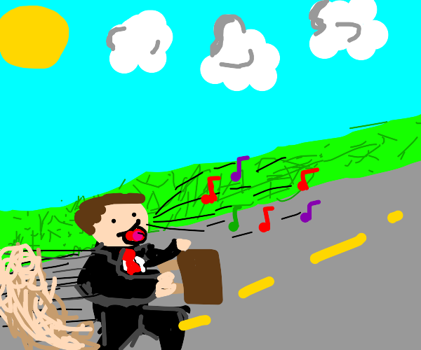 Man singing while running with a suitcase
