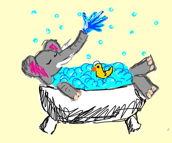 elephant in a bath
