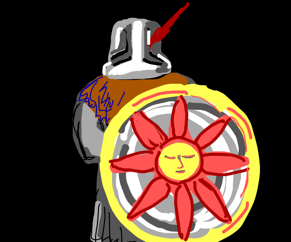 Knight with flower shield