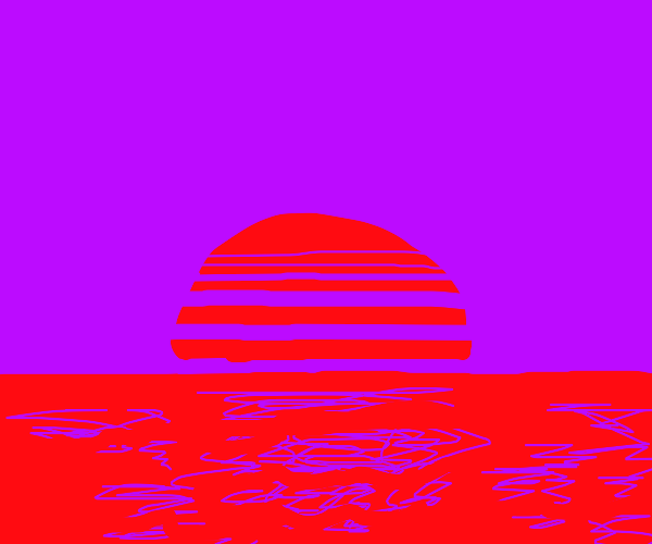 Abstract red sunset over purple sky