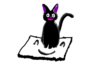 Happy black cat on happy white rug