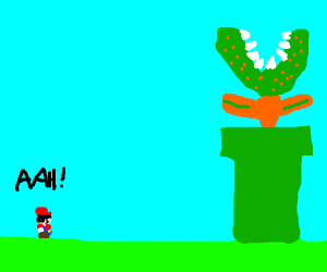 Mario terrified over a huge Piranha Plant