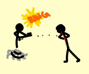 a guy with happy feet gunning down a guy