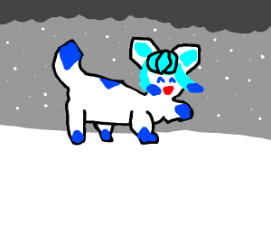 Glaceon playing in the snow