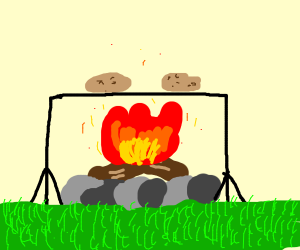 Cooking potatoes on a campfire
