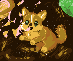 A  dog floating through space (?)