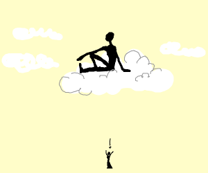 Man above cloud oblivious to tiny woman