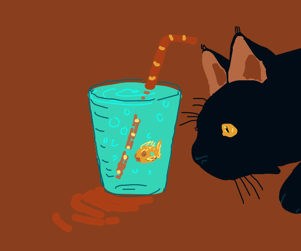 Goldfish in a cup amuses cat