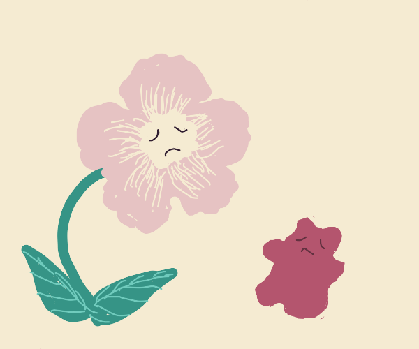 flower is sad because of red blob