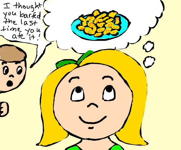 Girl thinks of mac and cheese