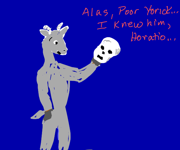 Goat ponders a spooky artifact
