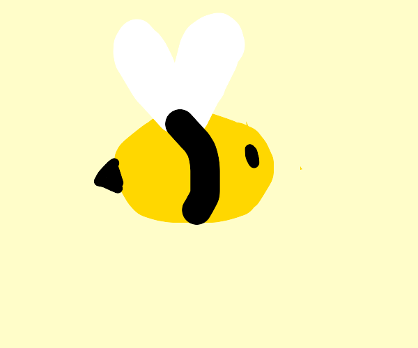 A minimalist drawing of a bee