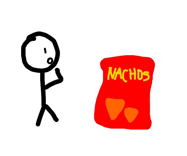 Stickman is shocked by a bag of nachos