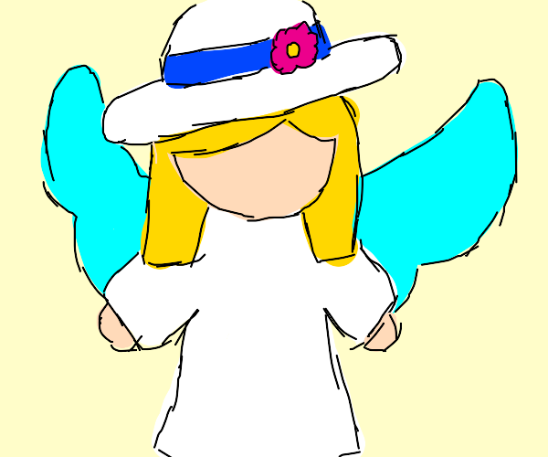 Angel with a summer hat