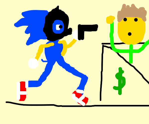 Sonic in a ski mask robs a bank