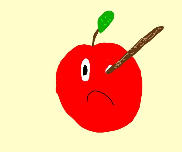 apple has a stick in its eye