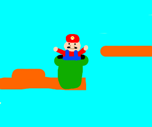 Mario coming off a pipe