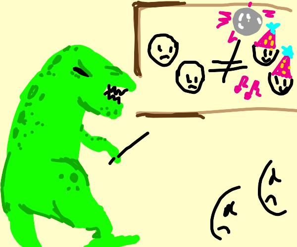 Dinosaur tells them they aren't party people