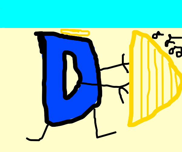 the drawception logo playing the harp