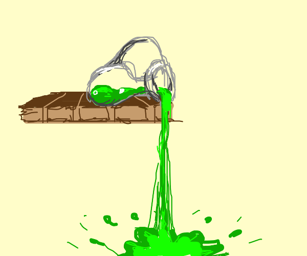 spilled green jug of water