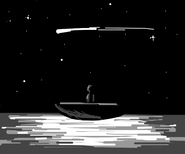 Person on a boat at night