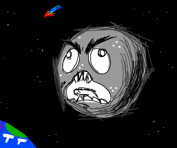the moon has an angry face