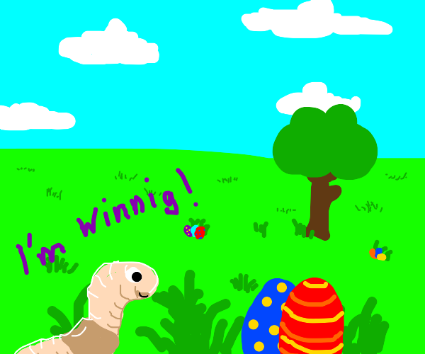 Worm participates in Easter egg hunt