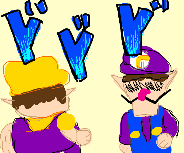 the jojo walk meme but its wario and waluigi