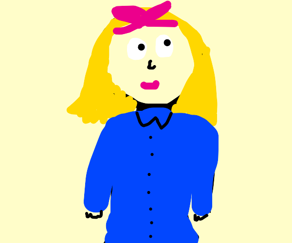 Blonde girl with big pink bow and blue dress
