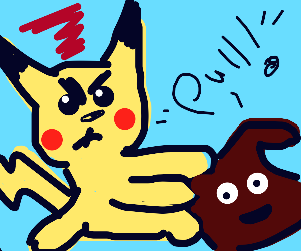 Pikachu is angry as he cannot get sh!t free