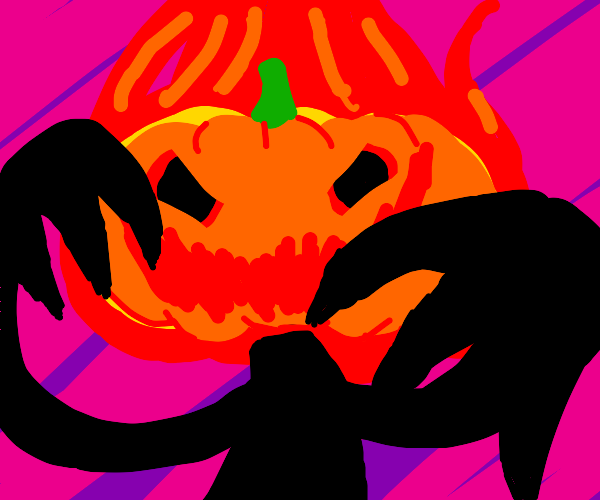 Evil jack-o'-latern on fire