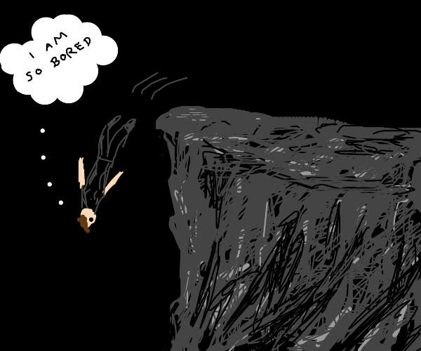 Bored man jumps off a cliff at night.