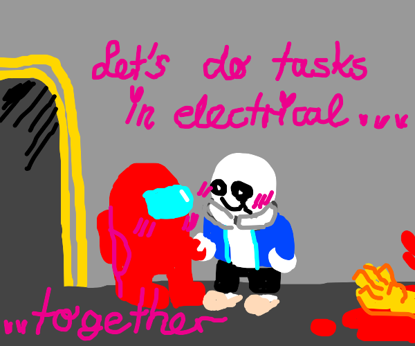 Sans and Red Crewmate in love