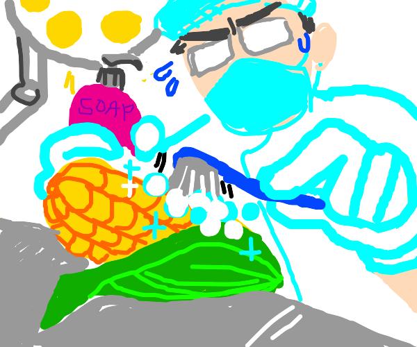 Surgeon cleaning Corn