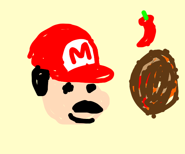 Mario is in a spicy meatball situation