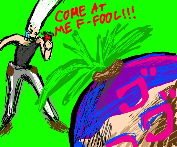 polnareff fights turnip with fruit