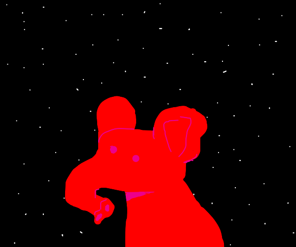 A red elephant at night