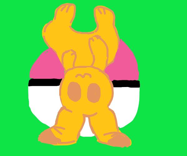 Pikachu is upside down Poké Ball