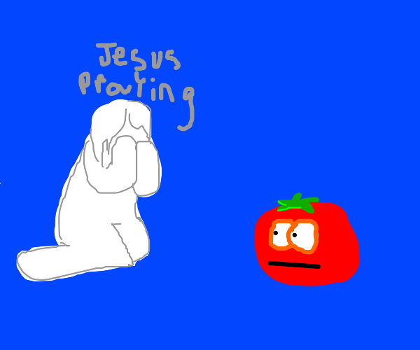 jesus praying to bob the tomato (veggietales)