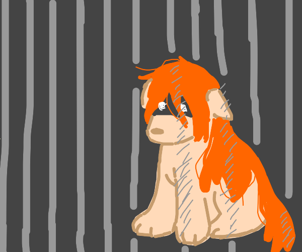 Orange haired animal creature in prison