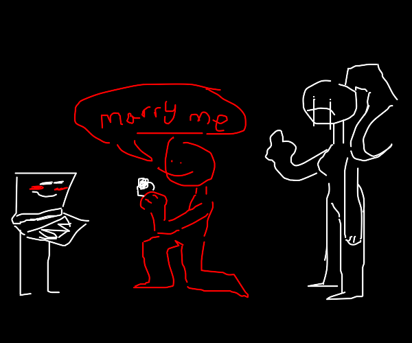 Red man proposes to computer next to wife
