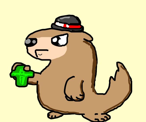 Hat wearing ferret, holding a golden crucifix