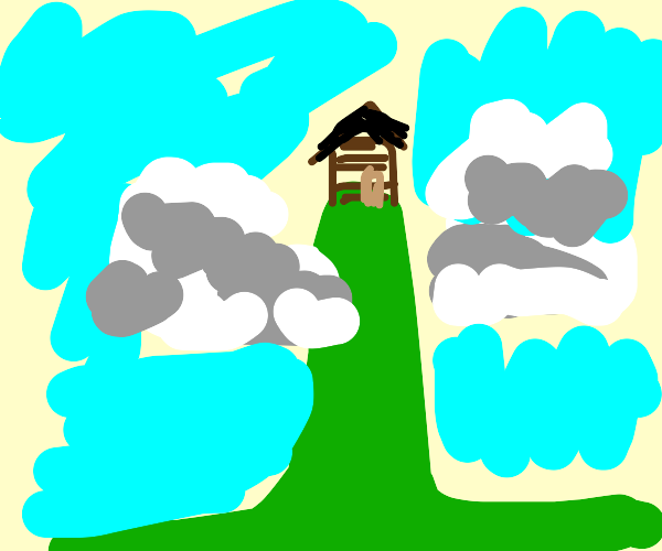house on a really tall hill