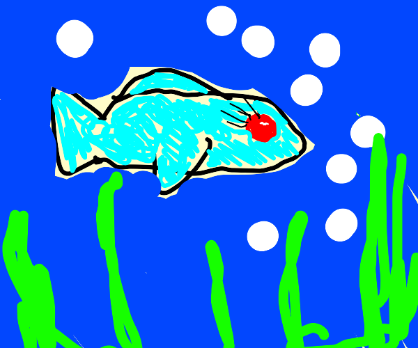 a beautiful fish with bright red eyes