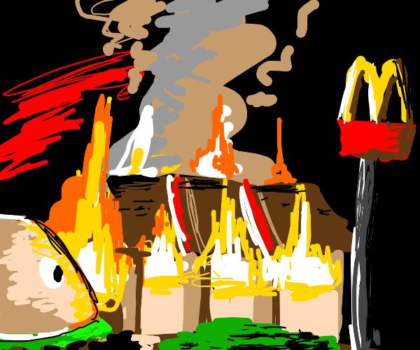 mcdonalds burns down but one burger escapes