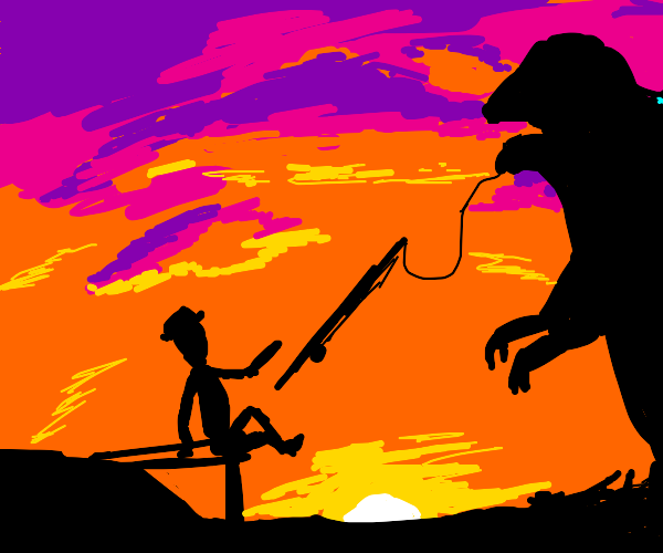fishing up a monster