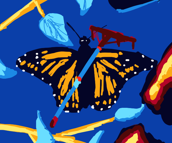 Butterfly and rake
