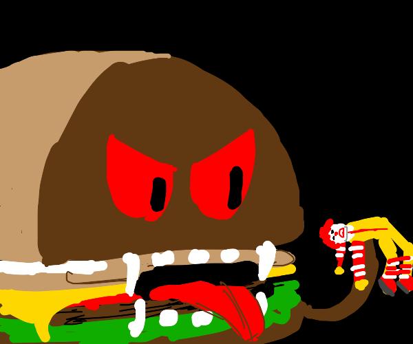hamburger eating ronald mcdonald
